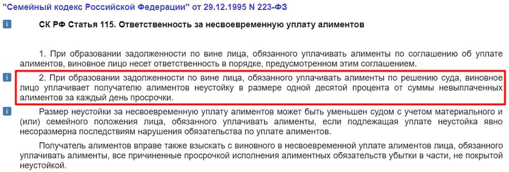 СК РФ Статья 115