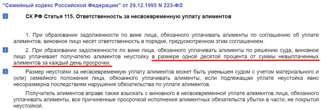 Статья 115 Семейного кодекса РФ