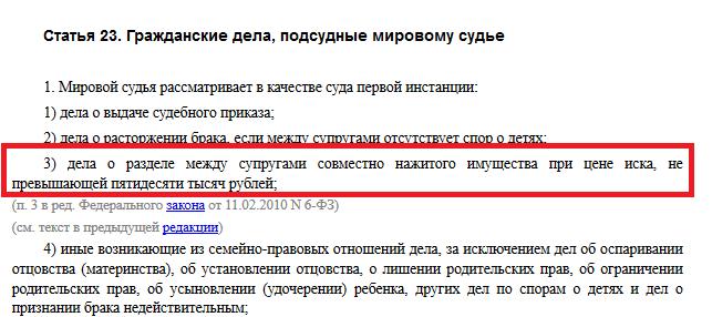 Статья 23 ГПК РФ