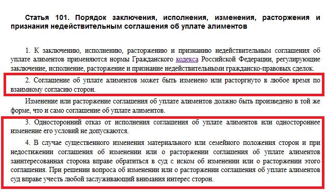 Статья 101 СК РФ