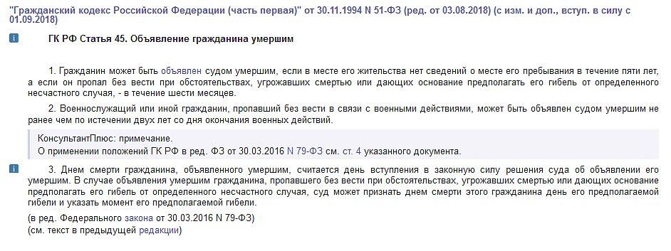 Статья 45 ГК РФ