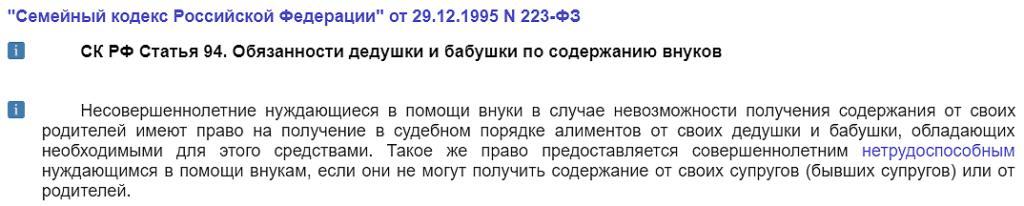 Статья 94 СК РФ